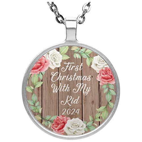 First Christmas With My Kid 2024 - Circle Necklace B Collar, Colgante, Bañado en Plata - Regalo para Cumpleaños, Aniversario, Día de Navidad o Día de Acción de Gracias