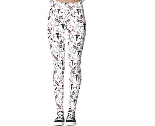 Vilico Yoga-Hose, niedlich, rosa Stethoskop, Krankenschwester-Leggings für Frauen, hohe Taille