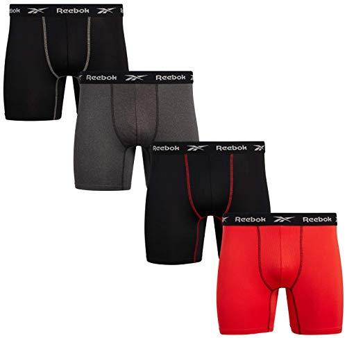 Reebok Men's Performance Boxer Briefs with Comfort Pouch (4 Pack), Black/Orange/Charcoal, Size...