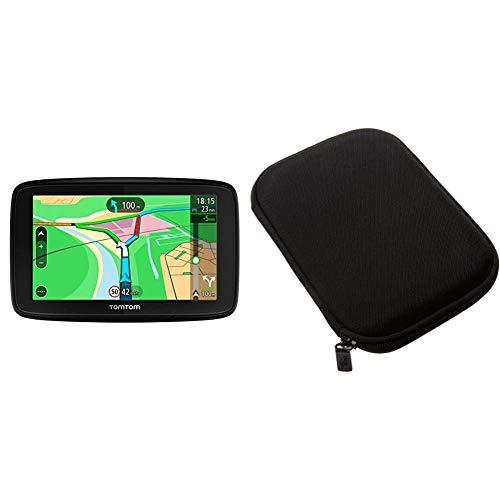 """TomTom Via 53 -GPS Navegación con Pantalla táctil de 5"""", Mapa de 48 países, planifica rutas Inteligentes Que te ayudan a Escapar del tráfico en Tiempo Real + AmazonBasics Funda para GPS de 5'', Negro"""
