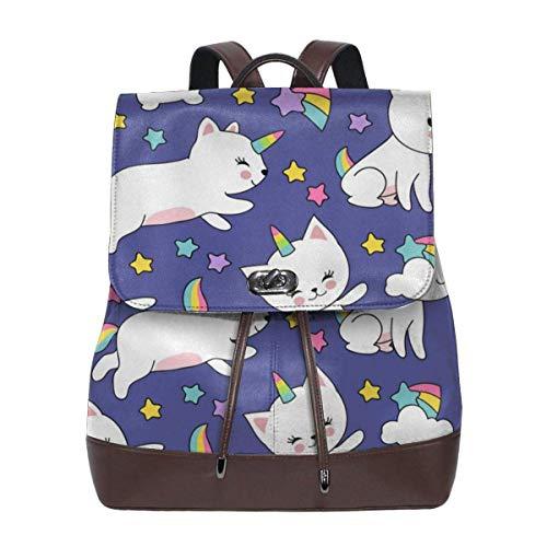 Asa Dutt528251 Cute Cats Unicorn Mochila de cuero para mujer Travel Casual Elegante bolso de hombro con cordón