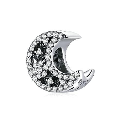 LIJIAN Colgante De Plata Esterlina S925, Colgante De Cuentas De Estrella De Luna Brillante, Adecuado para Pulsera De Plata, Collar, Joyería