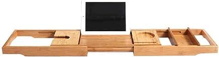 Shelves Shelving Luxury Bathtub Caddy - Extendable Bamboo Wood Bath Tray Adjustable Book, iPad Kindle Reading Rack - Wine Glass Holder - Cellphone Tablet Slot Racks (Color : Bathtub Tray, Size : -)