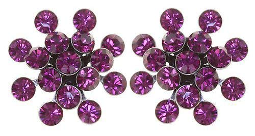 KONPLOTT Magic Fireball Classic Ohrstecker für Damen | Exklusive Designer-Ohrringe mit 32 Swarovski Steinen | Glamouröser Ohrschmuck passend zu jedem Anlass | Handgefertigter Damen-Schmuck | Rosa/Lila