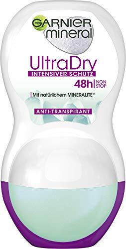 Garnier Mineral UltraDry Roll-on, Anti-Transpirant, intensiver Schutz vor Körpergeruch und Achselnässe, bis zu 48 h Wirkung, 50 ml