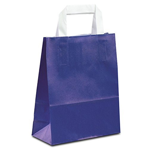 100 x Papiertragetaschen blau 18+08x22 cm | stabile Papiertaschen | Papiertüten Flachhenkel | Kraftpapiertüten klein | Paper Bag | HUTNER