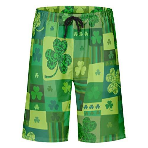 Ouniaodao Herren Badehose St. Patrick's Day klassische Passform – Shorts Gr. L, weiß