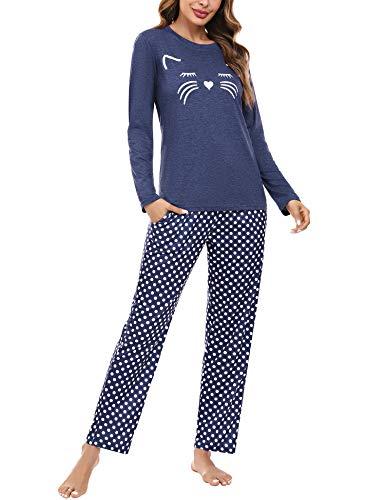 Aibrou Schlafanzug Damen Zweiteiliger Set, Weich Baumwolle Hausanzug Nachtwäsche mit Katzendruck und Polka Dot Schlafanzughose Pyjama Set Freizeitanzug Stil 1:Marineblau M