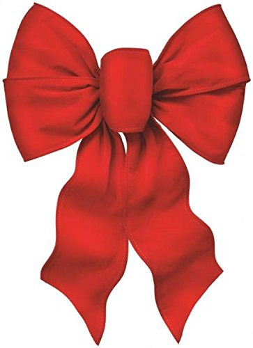 Rocky Mountain Goods Large Wired Red Bow - 12 Wide by 20 Long - Christmas Wreath Bow - Great for Large Gifts - Indoor/Outdoor - Hand Tied in USA - Waterproof Velvet - Attachment tie (1)