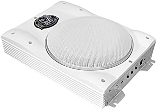 Low Profile Marine Subwoofer System - 1000 Watt 8 Inch Slim Active Waterproof Amplified Bass Speaker - Underseat Mount Audio Sound Amplifier Box For Small Boat, Marine Vehicles - Lanzar AQTB8 (White)