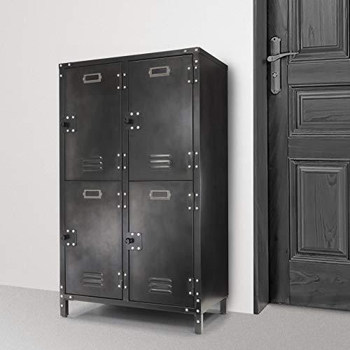 Allspace 4 Door Steel Storage Locker With Dark Weathered Finish, Vintage, Industrial, for Home, Office, School, Dorm, Teen, Crafts, Shop, Vented, Lockable, Stackable, Durable - 240003