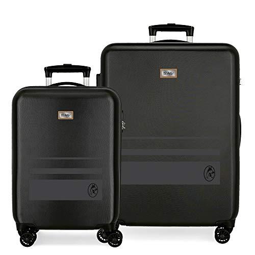 El Potro Chic Juego de Maletas Negro 55/68 cms Rígida ABS Cierre de combinación Lateral 104L 2,66 kgs 4 Equipaje de Mano