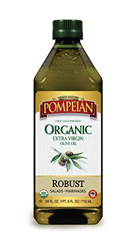 Pompeian USDA Organic Extra Virgin Olive Oil, First Cold Pressed, Full-Bodied Flavor, Perfect for Vinaigrettes and Marinades, Naturally Gluten Free, Non-Allergenic, Non-GMO, 24 FL. OZ., Single Bottle