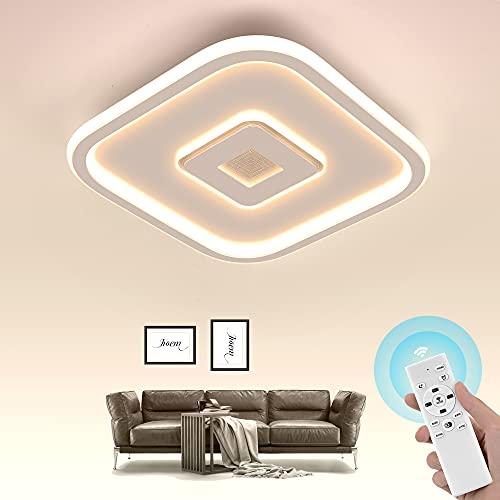 Wayrank Lampada Led Soffitto Dimmerabile, Plafoniera Led con Telecomando, Lampadario Moderno per Camere da Letto Soggiorno, 3000K-6000K, 30W, Quadrato