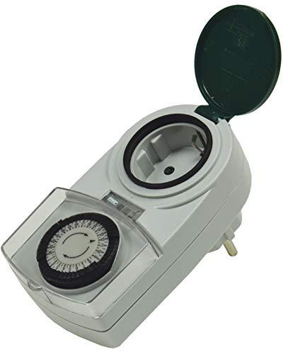 Aussen Zeitschaltuhr Analog Mechanischer Timer 230V Schaltuhr mit Schutzdeckel IP44 3500W 16A