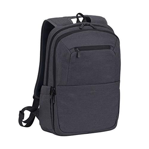 Rivacase Rucksack – wasserfester Rucksack mit Laptopfach (15,6 Zoll) und Tablet-Tasche (10,1 Zoll) – Dank Trolley-Gurt perfekt als Reiserucksack – Laptop Rucksack aus Polyeste (Schwarz)