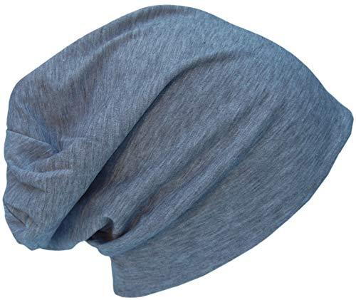 Cool4 Sommer Jersey Beanie Baumwolle meliert Slouch Chemo Unisex Mütze Cap A29 (Hellgrau)