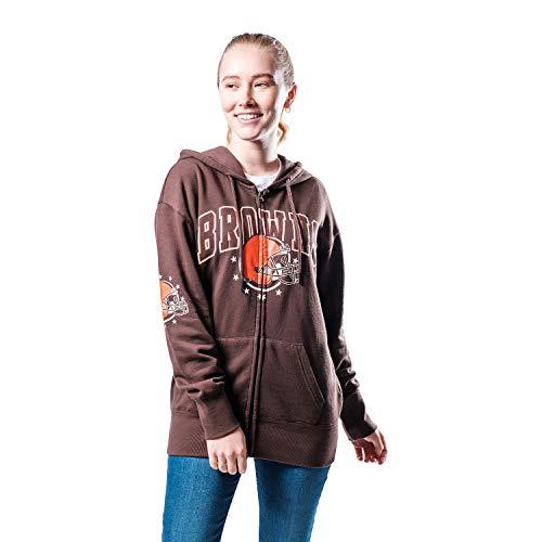 Ultra Game NFL Cleveland Browns Womenss Full Zip Fleece Hoodie Sweatshirt Banner Jacket, Team Color, X-Large