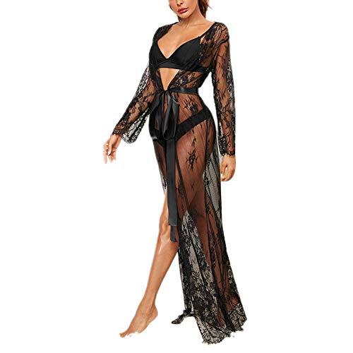 Frauen sexy Lace Crochet Open Front Bikini Cover Up Lange Maxikleid Spitze Urlaub Strandkleid Damen Kimono Strandponcho Vertuschen Boho Kleid (Schwarz, M)