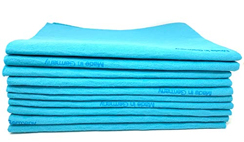 10 Pack EXTRA LARGE Original German Shammy Cloths Chamois Towels Super Absorbent For Pets, Parenting Tool Cleaning For Home And Commercial Use WHOLESALE BULK (Blue)