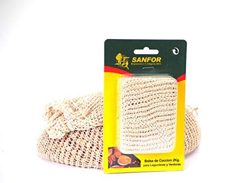 Sanfor Bolsa de cocción legumbres de 2 kg | Apta para todo tipo de ollas a presión | Algodón 100% | Color Marrón