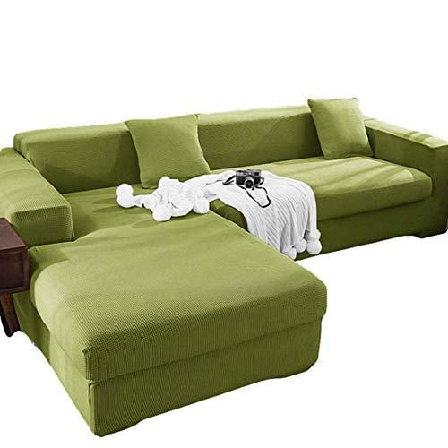 WLVG Fundas elásticas para sofá Fundas para sofá esquinero, Funda para sofá en Forma de L 1 Plaza + 4 plazas, Todo Incluido a Prueba de Polvo, para sofá Protector de Sala de Estar, Verde