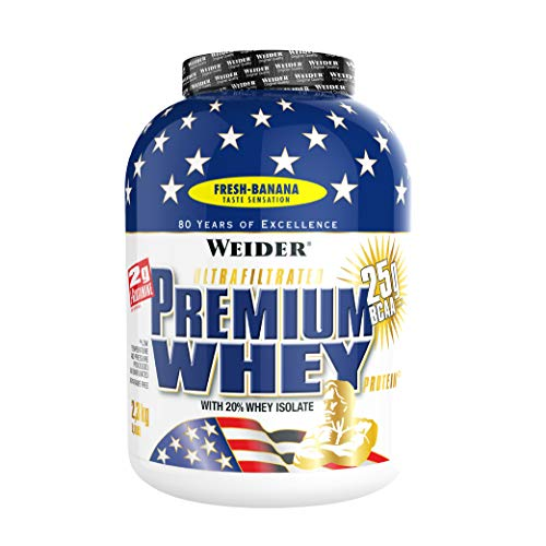 Weider Premium Whey Protein Powder, Fresh Banana, 33g of Protein Per Serving, Low Carb, Whey Protein Isolate, Rich in BCAA's, 2,3kg