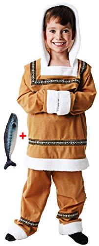 Gojoy shop- Disfraz de Esquimal para Niño y Niñas Carnaval (Contiene Chaqueta con Capucha o Vestido Con Capucha y peluche de pez, 4 Tallas Diferentes) (Esquimal Niño, 3-4 año)