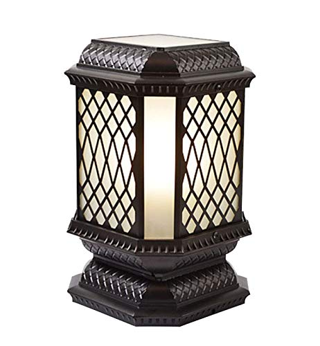 Yankuoo Retro Outdoor waterdichte wandlamp, eenvoudige lantaarn staande lamp, aluminiumlegering + glazen lampenkap, grote decoratieve tuinlamp