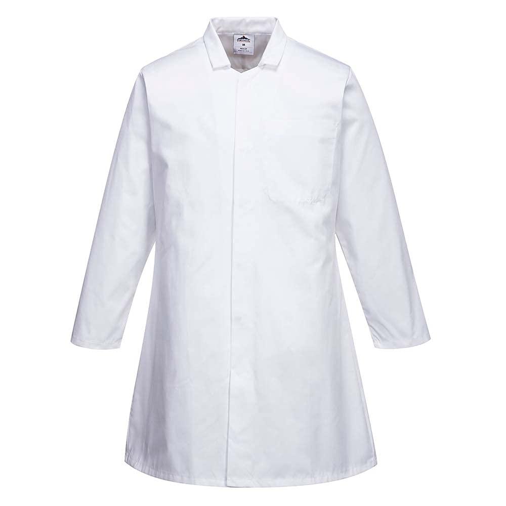 Portwest Workwear Mens Mens Food Coat One Pocket White Medium