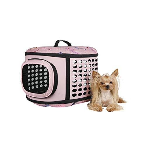 JXLBB Sac de Transport Sortie Sac de Transport Boîte Pliable pour Animaux de Compagnie Teddy VIP Schnauzer EVA Haute Matériau en Mousse polymère (Color : Pink)