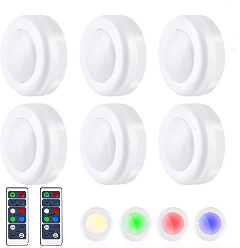 TaoHorse Puck Light with Remote, 16 Colors 3 Modes Battery Operated Dimmable Closet Lights with 2 Remote Control Switch Dimmer, Wireless LED Under Cabinet Lighting with 60 mins Timer(6Pack)