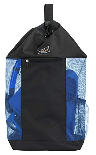 PACMAXI Mesh Scuba Diving Bag, Travel Dive Bag for Scuba or Snorkeling with 1 Zip Pocket and 1 Mesh Pocket, Can Holds Mask, Fins, Top Snorkel, Trek Fins. (Blue)