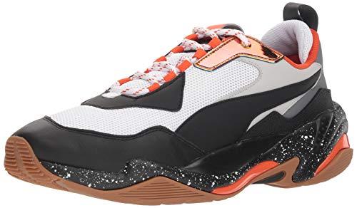 PUMA Men's Thunder Sneaker, White Black-Mandarine Red, 8 M US