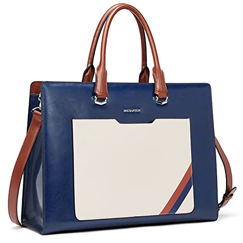BOSTANTEN Leather Briefcase Laptop Bag for Women Handbag Tote 15.6 Inch