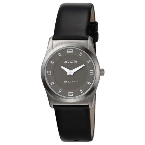 Womens Invicta Ultra Slim Schwarz Leder Watch 5155