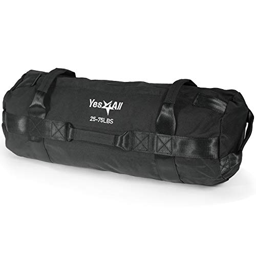 Yes4All Sandbag Weights/Weighted Bags - Sandbags for Fitness, Conditioning, Crossfit with Adjustable Weights (Black - M)