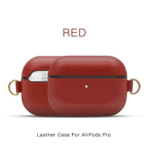 Khcr-CL AirPods Pro Schutzhülle, Echtleder Schutzhülle tragbare, stoßfeste Apple AirPods Pro-Kopfhörer (LED an der Vorderseite sichtbar) Unterstützt kabelloses Aufladen,Rot