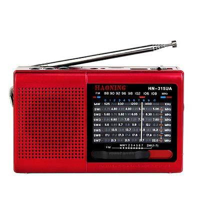 Receptor del mundo de 9 bandas. Reproductor de música portátil compatible con tarjeta TF, USB, SD, MP3, radio FM con sintonizador de radio de alta sensibilidad (rojo).