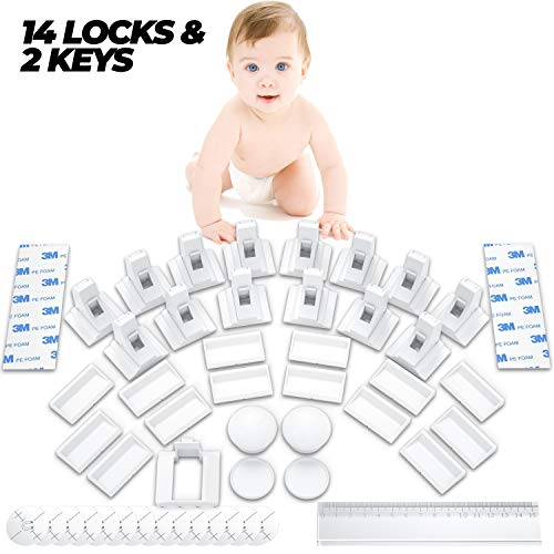HoneyBull Magnetic Cabinet Locks Child Safety for Baby Proofing [14 Locks]