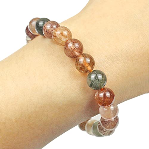 Natural colorido rutilado piedra de cuarzo redondo cuentas sueltas cristal para hacer joyas DIY pulsera collar 6/8/10 mm 10mm colorido