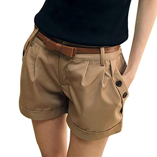 WOZOW Damen Kurze Hose Shorts Solid Falten Gefaltet Lose Loose A Line Cool Short Casual Military Stoffhose Trousers Pocket Bloomers Mini Hosen (L,Khaki)
