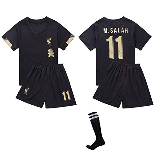 CHSC # 11 Salah Fußballuniform Trikot Trikotset Jersey,Outfit Kinder Kurzarm Shorts Socken Trainingsbekleidung Wettbewerb Fan-Ausgabenweste 1 Set black-20