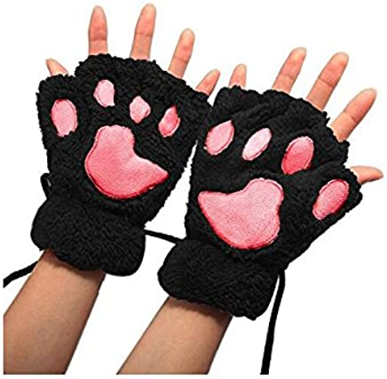 Royare Lady Lovely Soft Winter Plush Animal Claw Gloves Cat Paw Glove (Black)