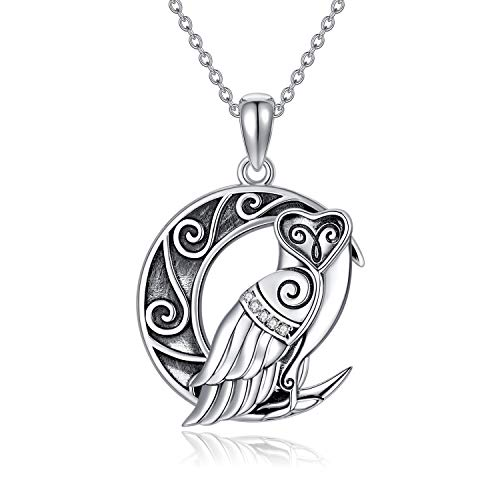VENACOLY Owl Gifts for Owl Lovers Sterling Silver Owl Necklace Celtic Knot Owl On Moon Pendant Owl Jewelry for Women