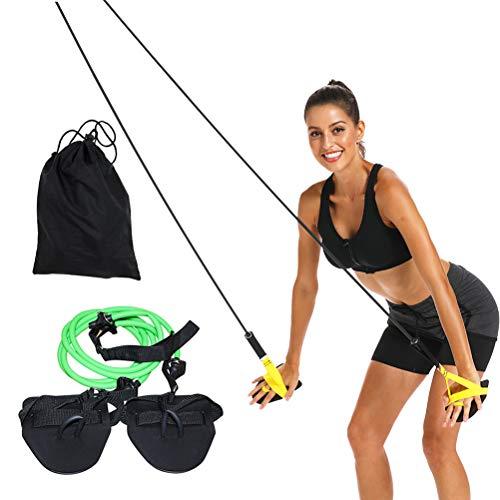 Ahagut Entrenador de natación con Cuerda con Palas de Mano y Entrenamiento de Fuerza con Banda de Resistencia para Nadadores y triatletas (Verde)