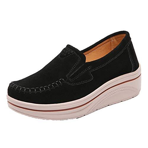 Zapatos Gruesos para Mujer, Plataforma Inferior Suave al Aire Libre, Primavera y otoño, Zapatos de cuña Resistentes al Desgaste para Caminar y Caminar para Mujeres