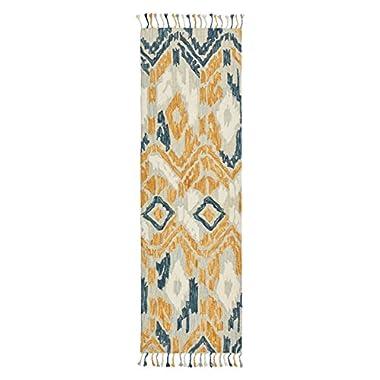 Stone & Beam Modern Global Ikat Wool Runner, 2'6  x 8', Blue