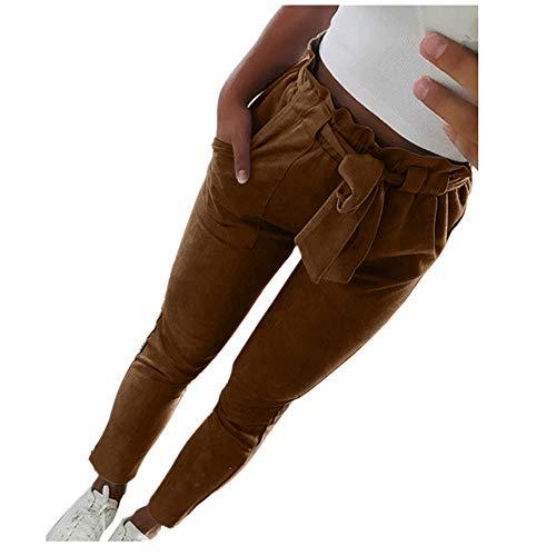VENMO Frauen hohe Taille Pluderhosen Bowtie elastische Taille beiläufige Hosen wunderschöne Leichte Haremshose Pumphose Pluderhose Harem-Stil Sommerhose Freizeithose Aladinhose Hose (Coffee, XL)