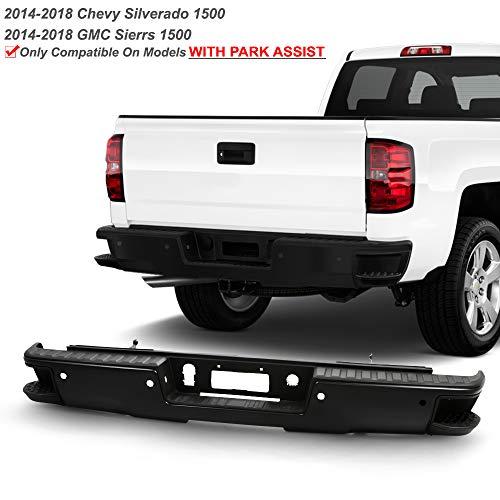 ACANII - For 2014-2018 Chevy Silverado/GMC Sierra 1500 Black Rear Step Bumper Assembly w/Sensor Holes & Corner Holes